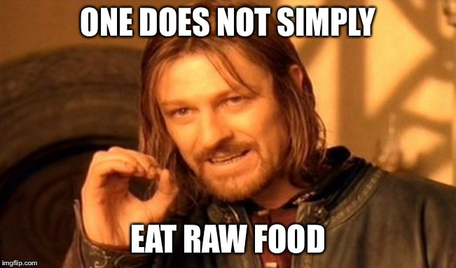 One Does Not Simply Meme | ONE DOES NOT SIMPLY EAT RAW FOOD | image tagged in memes,one does not simply | made w/ Imgflip meme maker