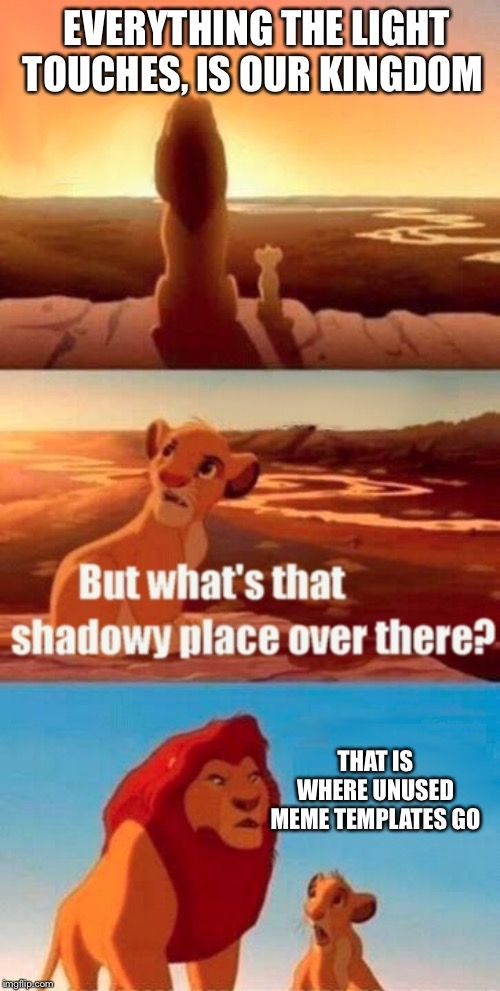 Simba Shadowy Place Meme | EVERYTHING THE LIGHT TOUCHES, IS OUR KINGDOM THAT IS WHERE UNUSED MEME TEMPLATES GO | image tagged in memes,simba shadowy place,funny,funny memes | made w/ Imgflip meme maker