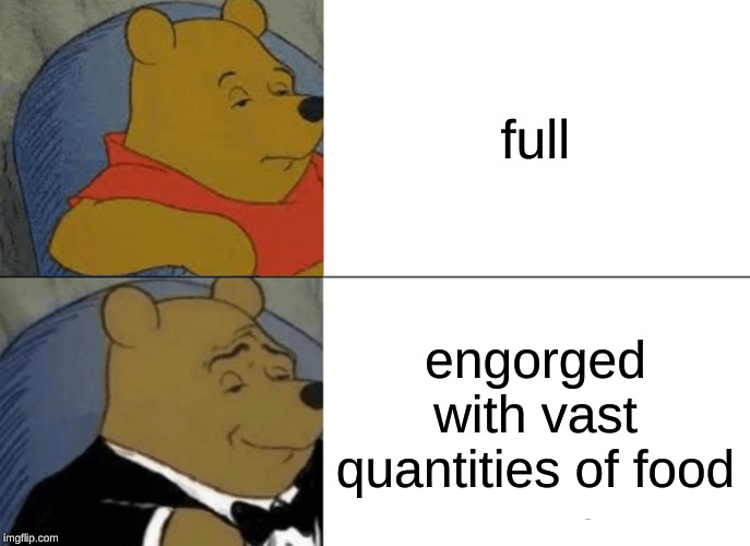 Tuxedo Winnie The Pooh Meme | full engorged with vast quantities of food | image tagged in memes,tuxedo winnie the pooh | made w/ Imgflip meme maker