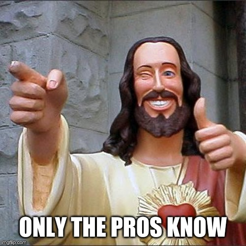 Buddy Christ Meme | ONLY THE PROS KNOW | image tagged in memes,buddy christ | made w/ Imgflip meme maker