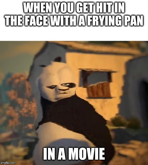 Drunk Kung Fu Panda | WHEN YOU GET HIT IN THE FACE WITH A FRYING PAN IN A MOVIE | image tagged in drunk kung fu panda | made w/ Imgflip meme maker