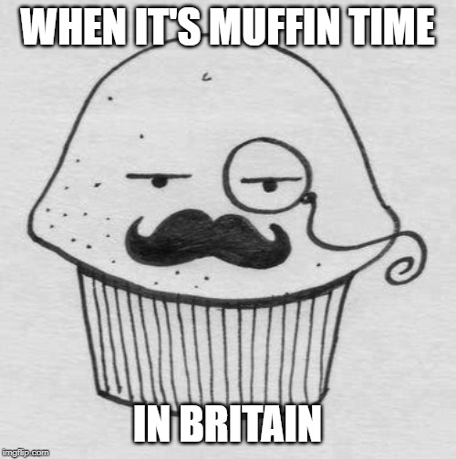 WHEN IT'S MUFFIN TIME IN BRITAIN | image tagged in english muffin | made w/ Imgflip meme maker