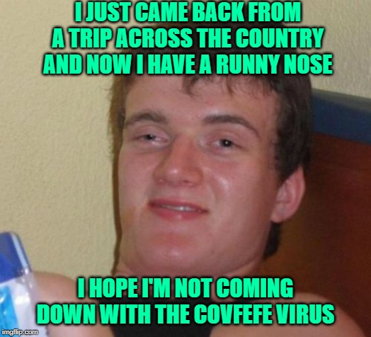 It'll Be Gone by April... | I JUST CAME BACK FROM A TRIP ACROSS THE COUNTRY AND NOW I HAVE A RUNNY NOSE I HOPE I'M NOT COMING DOWN WITH THE COVFEFE VIRUS | image tagged in memes,10 guy,coronavirus,covfefe | made w/ Imgflip meme maker