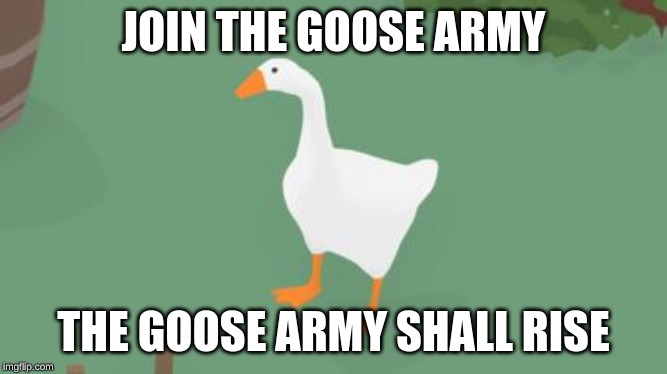 THE GOOSE ARMY WILL RISE | JOIN THE GOOSE ARMY THE GOOSE ARMY SHALL RISE | image tagged in goose | made w/ Imgflip meme maker