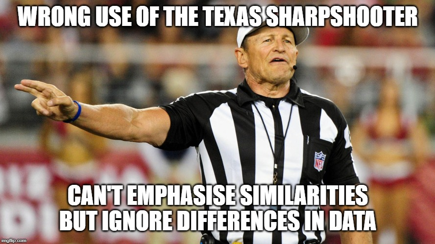 Logical Fallacy Referee |  WRONG USE OF THE TEXAS SHARPSHOOTER; CAN'T EMPHASISE SIMILARITIES BUT IGNORE DIFFERENCES IN DATA | image tagged in logical fallacy referee | made w/ Imgflip meme maker