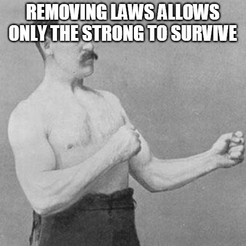 REMOVING LAWS ALLOWS ONLY THE STRONG TO SURVIVE | image tagged in strongman | made w/ Imgflip meme maker