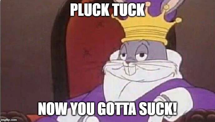 Bugs Bunny King | PLUCK TUCK NOW YOU GOTTA SUCK! | image tagged in bugs bunny king | made w/ Imgflip meme maker