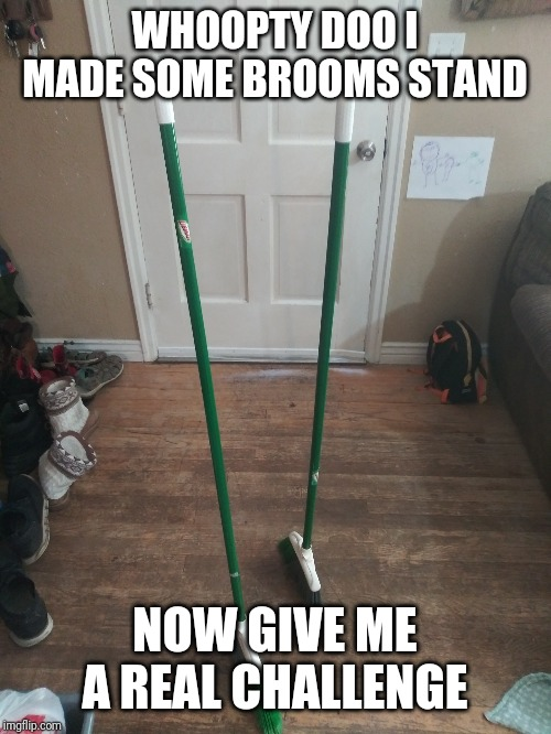Memes magic broom | WHOOPTY DOO I MADE SOME BROOMS STAND NOW GIVE ME A REAL CHALLENGE | image tagged in memes magic broom | made w/ Imgflip meme maker