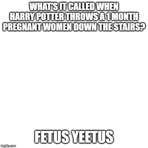 WHAT'S IT CALLED WHEN HARRY POTTER THROWS A 1 MONTH PREGNANT WOMEN DOWN THE STAIRS? FETUS YEETUS | image tagged in harry potter | made w/ Imgflip meme maker