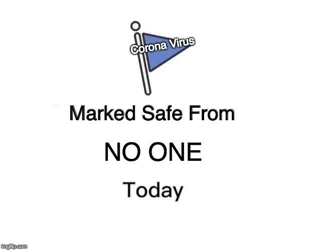 Marked Safe From Meme | NO ONE Corona Virus | image tagged in memes,marked safe from | made w/ Imgflip meme maker