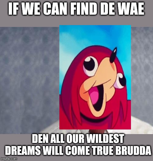 If we can find de wae , den all our wildest dreams can come true brudda | IF WE CAN FIND DE WAE DEN ALL OUR WILDEST DREAMS WILL COME TRUE BRUDDA | image tagged in napoleon dynamite,memes,funny memes,dank memes,ugandan knuckles,de wae | made w/ Imgflip meme maker