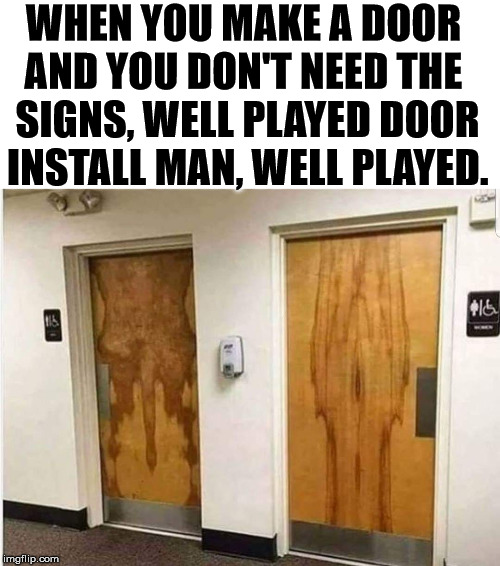 Wood Craftsmanship. | WHEN YOU MAKE A DOOR  AND YOU DON'T NEED THE  SIGNS, WELL PLAYED DOOR INSTALL MAN, WELL PLAYED. | image tagged in building,wood,totally looks like | made w/ Imgflip meme maker