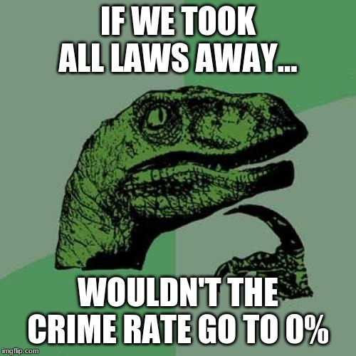 Philosoraptor Meme | IF WE TOOK ALL LAWS AWAY... WOULDN'T THE CRIME RATE GO TO 0% | image tagged in memes,philosoraptor | made w/ Imgflip meme maker
