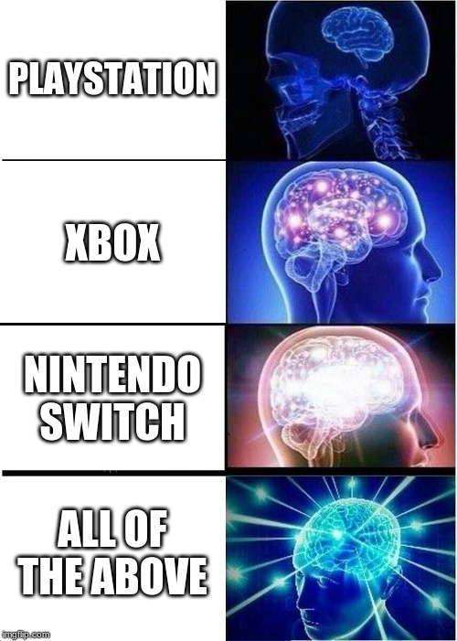 Expanding Brain Meme | PLAYSTATION XBOX NINTENDO SWITCH ALL OF THE ABOVE | image tagged in memes,expanding brain | made w/ Imgflip meme maker