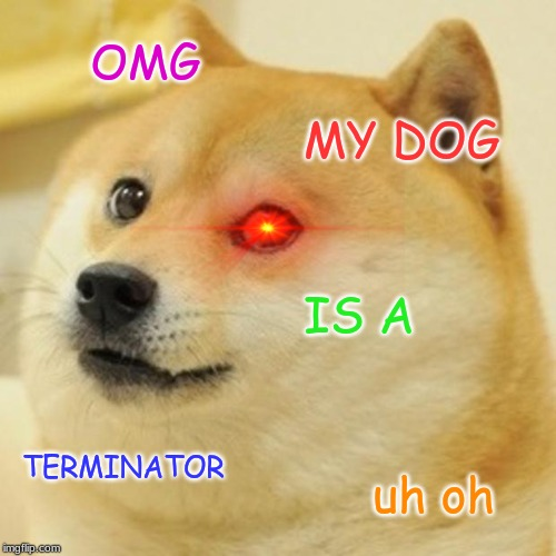 Doge Meme | OMG MY DOG IS A TERMINATOR uh oh | image tagged in memes,doge | made w/ Imgflip meme maker