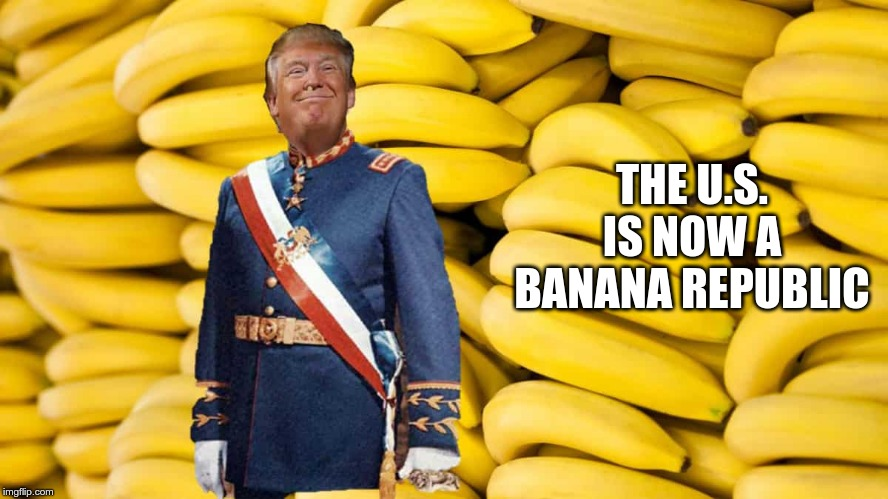 Banana Republic |  THE U.S. IS NOW A BANANA REPUBLIC | image tagged in trump,gop,republicans | made w/ Imgflip meme maker