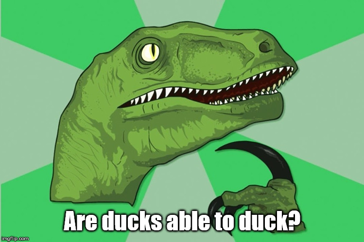 new philosoraptor |  Are ducks able to duck? | image tagged in new philosoraptor | made w/ Imgflip meme maker
