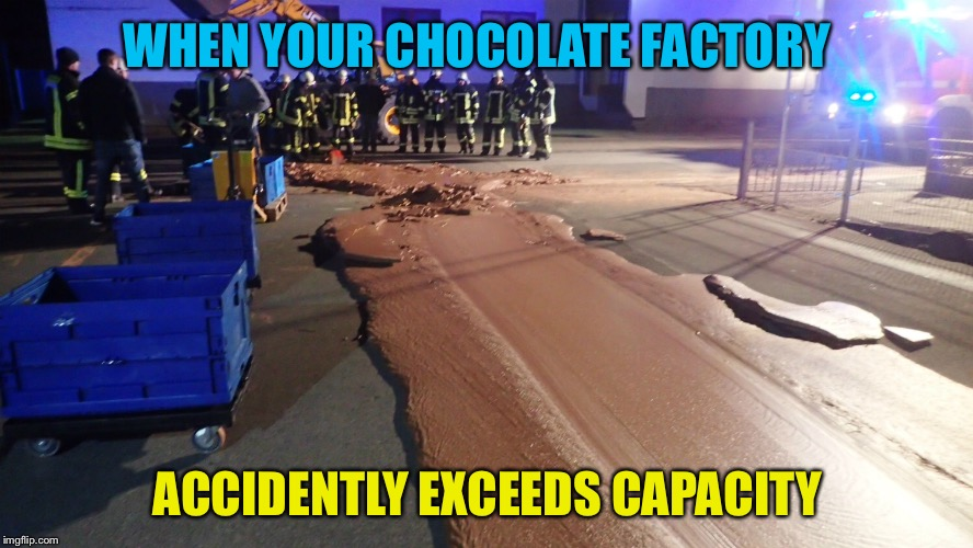 A little too much | WHEN YOUR CHOCOLATE FACTORY ACCIDENTLY EXCEEDS CAPACITY | image tagged in chocolate spill | made w/ Imgflip meme maker