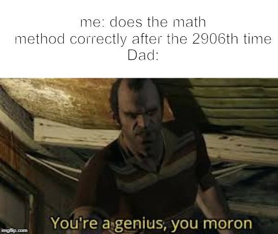 You're a genius, you moron | me: does the math method correctly after the 2906th timeDad: | image tagged in you're a genius you moron | made w/ Imgflip meme maker
