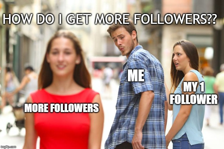 Distracted Boyfriend | MORE FOLLOWERS ME MY 1 FOLLOWER HOW DO I GET MORE FOLLOWERS?? | image tagged in memes,distracted boyfriend | made w/ Imgflip meme maker