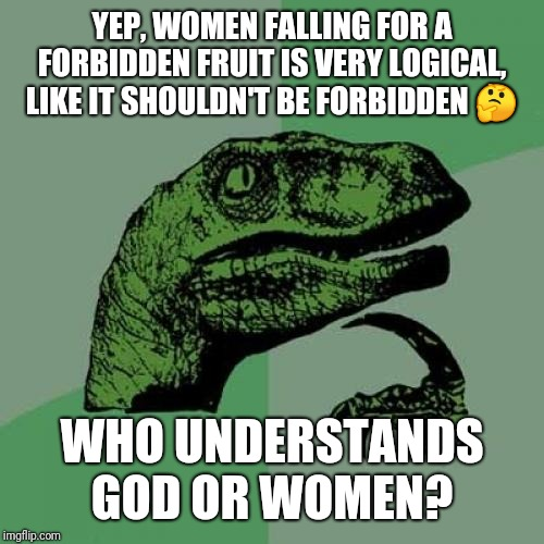 Philosoraptor |  YEP, WOMEN FALLING FOR A FORBIDDEN FRUIT IS VERY LOGICAL, LIKE IT SHOULDN'T BE FORBIDDEN 🤔; WHO UNDERSTANDS GOD OR WOMEN? | image tagged in memes,philosoraptor | made w/ Imgflip meme maker