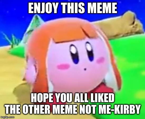 The Kirby that doesn't care about itself being a meme | ENJOY THIS MEME HOPE YOU ALL LIKED THE OTHER MEME NOT ME-KIRBY | image tagged in inkling kirby,memes | made w/ Imgflip meme maker