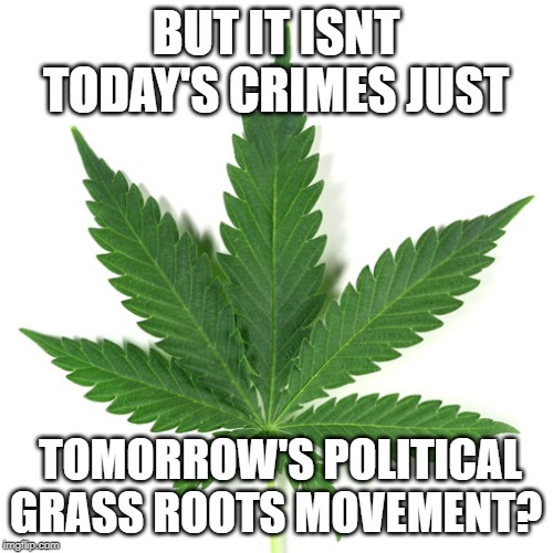 BUT IT ISNT TODAY'S CRIMES JUST TOMORROW'S POLITICAL GRASS ROOTS MOVEMENT? | image tagged in marijuana leaf | made w/ Imgflip meme maker