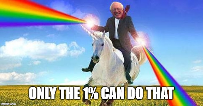 Bernie Sanders on magical unicorn | ONLY THE 1% CAN DO THAT | image tagged in bernie sanders on magical unicorn | made w/ Imgflip meme maker