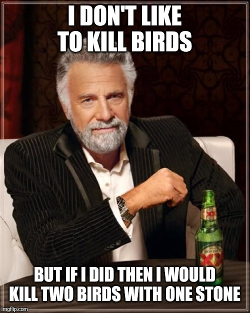 The Most Interesting Man In The World Meme | I DON'T LIKE TO KILL BIRDS BUT IF I DID THEN I WOULD KILL TWO BIRDS WITH ONE STONE | image tagged in memes,the most interesting man in the world,animals,birds,angry birds | made w/ Imgflip meme maker