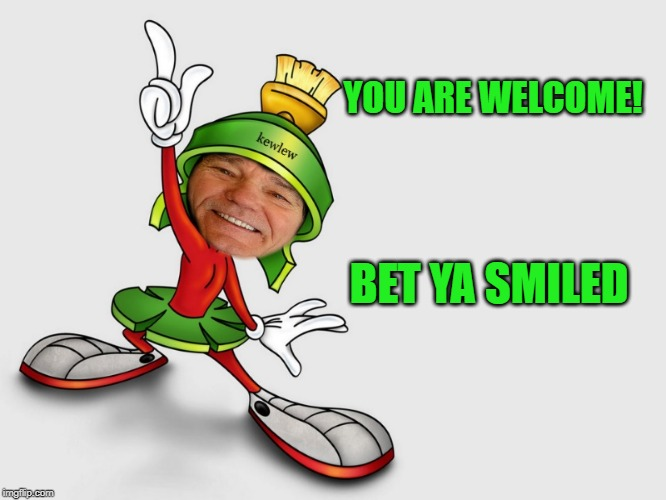 kewlew as marvin the martian | YOU ARE WELCOME! BET YA SMILED | image tagged in kewlew as marvin the martian | made w/ Imgflip meme maker