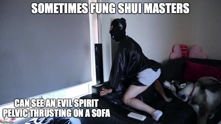 Evil Spirit Pelvic Thrusting on a Sofa | SOMETIMES FUNG SHUI MASTERS CAN SEE AN EVIL SPIRIT PELVIC THRUSTING ON A SOFA | image tagged in fung shui,memes,youtube,mychonny | made w/ Imgflip meme maker