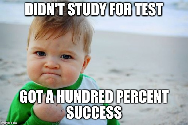 Success Kid Original | DIDN'T STUDY FOR TEST GOT A HUNDRED PERCENT  SUCCESS | image tagged in memes,success kid original | made w/ Imgflip meme maker