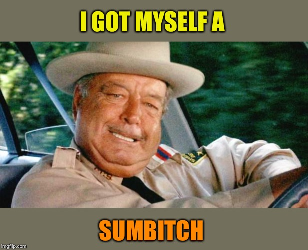 Smokey and the Bandit 1 | I GOT MYSELF A SUMB**CH | image tagged in smokey and the bandit 1 | made w/ Imgflip meme maker