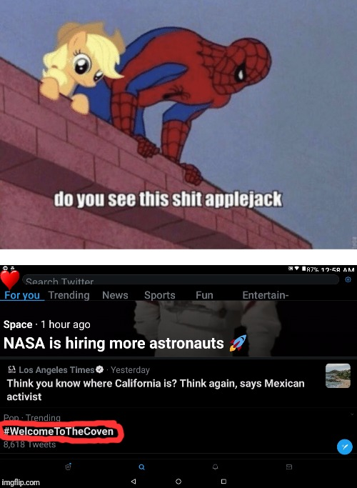 The what.... | image tagged in spiderman,mylittlepony,funny,memes,twitter | made w/ Imgflip meme maker