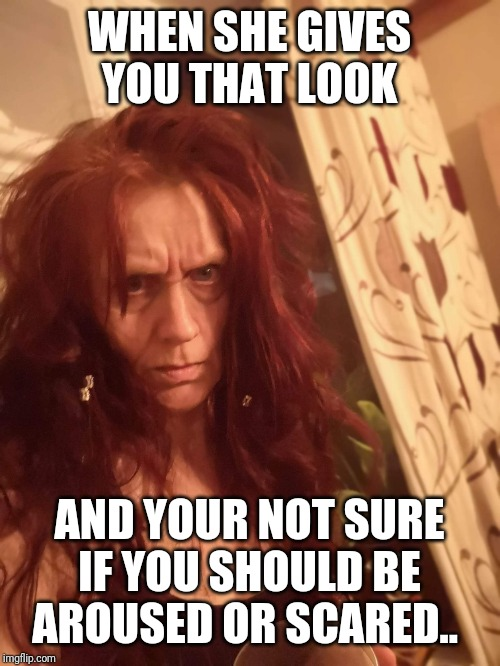 The look... |  WHEN SHE GIVES YOU THAT LOOK; AND YOUR NOT SURE IF YOU SHOULD BE AROUSED OR SCARED.. | image tagged in the look,scary,crazy lady | made w/ Imgflip meme maker