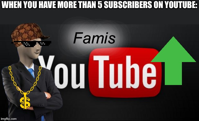 youtube | WHEN YOU HAVE MORE THAN 5 SUBSCRIBERS ON YOUTUBE: Famis | image tagged in youtube | made w/ Imgflip meme maker