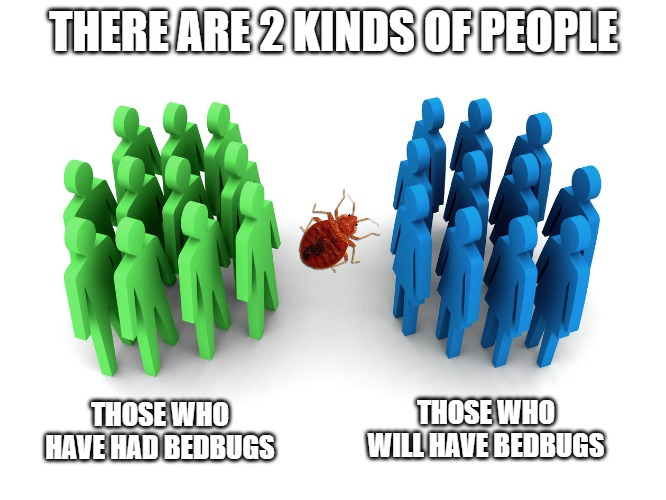 People with & w/out bedbugs | THERE ARE 2 KINDS OF PEOPLE THOSE WHO HAVE HAD BEDBUGS THOSE WHO WILL HAVE BEDBUGS | image tagged in 2 groups of people,bedbugs,groups,split group,prediction | made w/ Imgflip meme maker