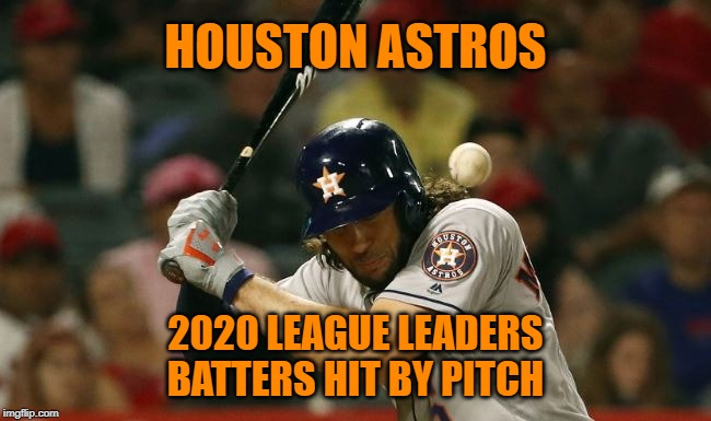Houston Astros: Revenge will be served with four seam fastballs. |  HOUSTON ASTROS; 2020 LEAGUE LEADERS BATTERS HIT BY PITCH | image tagged in memes,major league baseball,houston astros,revenge,karma,cheaters | made w/ Imgflip meme maker