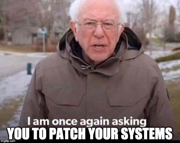 vuln mgmt team going up to sys admins | YOU TO PATCH YOUR SYSTEMS | image tagged in bernie sanders financial support | made w/ Imgflip meme maker