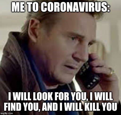 Me to coronavirus |  ME TO CORONAVIRUS:; I WILL LOOK FOR YOU, I WILL FIND YOU, AND I WILL KILL YOU | image tagged in coronavirus | made w/ Imgflip meme maker