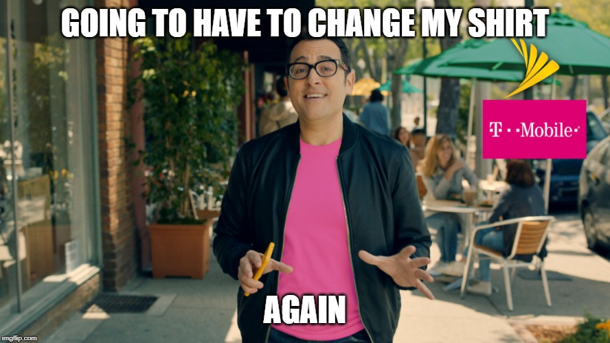 Sprint/T-Mobile merger was approved. | GOING TO HAVE TO CHANGE MY SHIRT AGAIN | image tagged in sprint,t-mobile,paul marcarelli | made w/ Imgflip meme maker