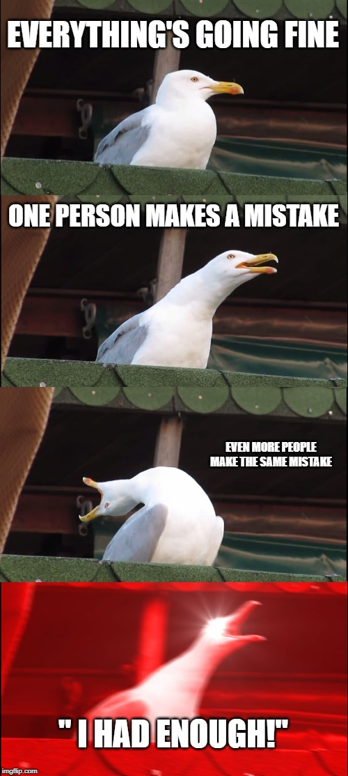 "Inhaling Seagull Meme | EVERYTHING'S GOING FINE ONE PERSON MAKES A MISTAKE EVEN MORE PEOPLE MAKE THE SAME MISTAKE "" I HAD ENOUGH!"" 