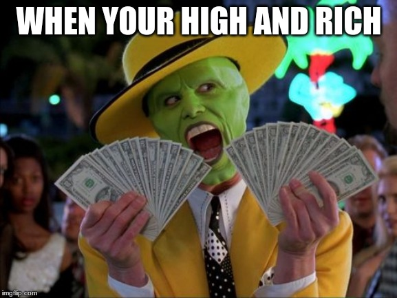 Money Money |  WHEN YOUR HIGH AND RICH | image tagged in memes,money money | made w/ Imgflip meme maker
