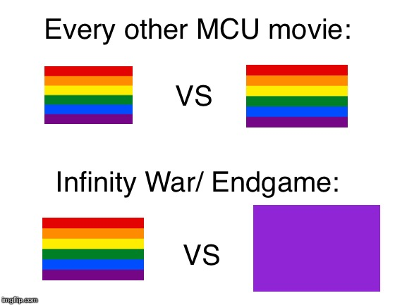 MCU in a nutshell |  Every other MCU movie:; VS; Infinity War/ Endgame:; VS | image tagged in blank white template,thanos,mcu,marvel,memes,funny | made w/ Imgflip meme maker
