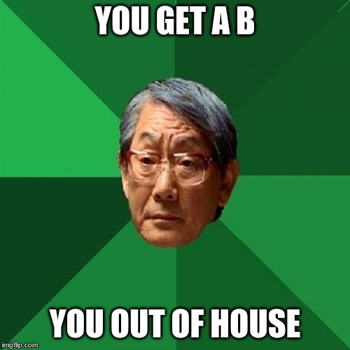 High Expectations Asian Father |  YOU GET A B; YOU OUT OF HOUSE | image tagged in memes,high expectations asian father | made w/ Imgflip meme maker