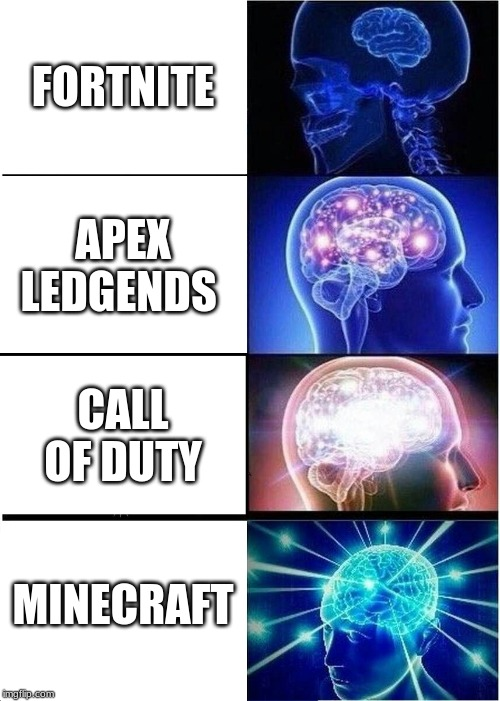 Expanding Brain Meme | FORTNITE APEX LEDGENDS CALL OF DUTY MINECRAFT | image tagged in memes,expanding brain | made w/ Imgflip meme maker