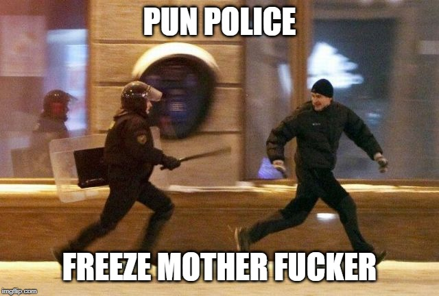 Police Chasing Guy | PUN POLICE FREEZE MOTHER F**KER | image tagged in police chasing guy | made w/ Imgflip meme maker