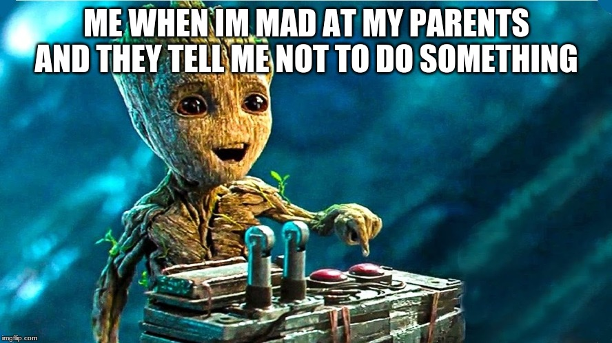 ME WHEN IM MAD AT MY PARENTS AND THEY TELL ME NOT TO DO SOMETHING | image tagged in baby groot | made w/ Imgflip meme maker