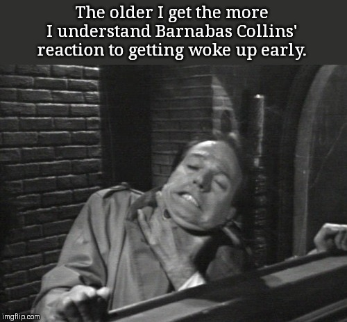 Waking Barnabas Collins | The older I get the more I understand Barnabas Collins' reaction to getting woke up early. | image tagged in waking barnabas collins,dark shadows,barnabas collins,humor | made w/ Imgflip meme maker
