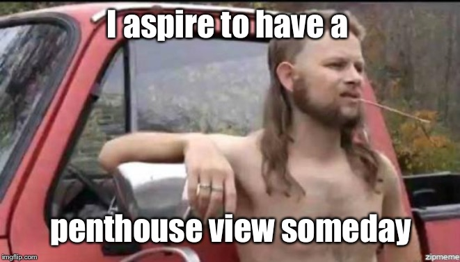 almost politically correct redneck | I aspire to have a penthouse view someday | image tagged in almost politically correct redneck | made w/ Imgflip meme maker